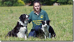 Bonnie helps Clyde the blind dog go for a walk at the Meadow Green Dog Rescue centre in Loddon, Norfolk with handler Riana Blanchard aged 18. See MASONS story MNDOG:  An animal rescue centre launched an appeal to find a home for blind border collie and his mate - who doubles as his GUIDE dog. Black and white hound Clyde is totally blind and relies on his partner and fellow collie Bonnie to guide him everywhere. She stays inches from Clyde's side while guiding him on walks or to food or water, and lets him rest his head on her haunches whenever he becomes disorientated. When they are together five-year-old Clyde seems as capable as a fully-sighted dog, but he refuses to move unless two-year-old Bonnie is nearby to guide him. Clyde's blindness is the result of a degenerative disease and staff at the Meadow Green Dog Rescue centre in Loddon, Norfolk, are struggling to find a new home for the pair. Cherie Cootes, from Meadow Green, said Clyde would be lost without Bonnie and the dogs had to be rehomed together.